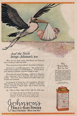 ORIG. VINTAGE MAGAZINE AD/ 1919 JOHNSON'S BABY POWDER ADillustrator- N/A - Product Image