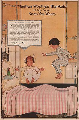 ORIG. VINTAGE MAGAZINE AD: 1919 NASHUA WOOLNAP BLANKETS ADillustrator- N/A - Product Image