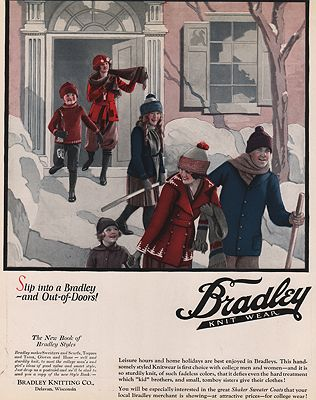 ORIG VINTAGE MAGAZINE AD/ 1920s BRADLEY KNITWEAR ADillustrator- N/A - Product Image