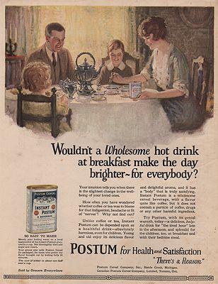 ORIG. VINTAGE MAGAZINE AD: 1920s INSTANT POSTUM ADillustrator- Don  Shae - Product Image