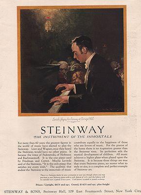 ORIG VINTAGE MAGAZINE AD/ 1920s STEINWAY PIANO ADillustrator- C.E,  Chambers - Product Image