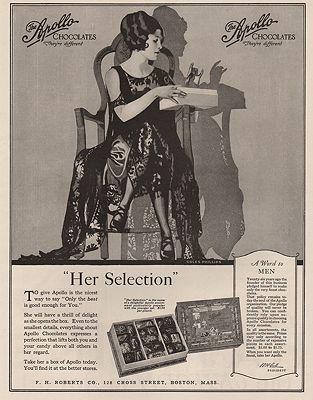 ORIG. VINTAGE MAGAZINE AD: 1923 APOLLO CHOCOLATES ADillustrator- Coles  Phillips - Product Image