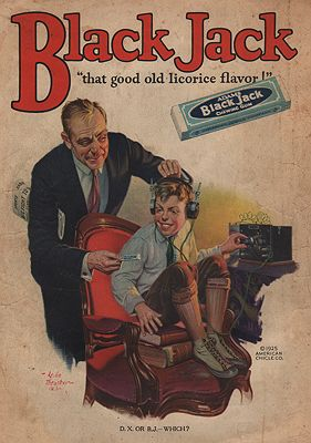 ORIG. VINTAGE MAGAZINE AD: 1923 BLACK JACK GUM ADillustrator- Leslie  Thrasher - Product Image
