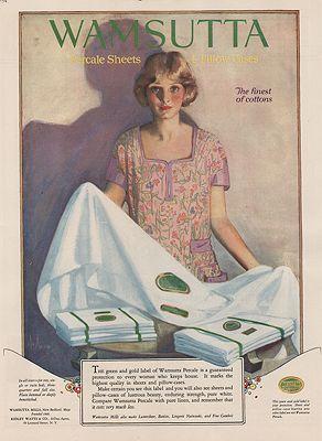 ORIG VINTAGE MAGAZINE AD/ 1923 WAMSUTTA SHEETS ADillustrator- Neysa  McMein - Product Image