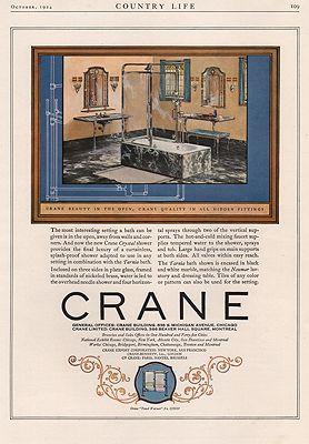 ORIG VINTAGE MAGAZINE AD/ 1924 CRANE BATHROOM FIXTURES ADillustrator- N/A - Product Image