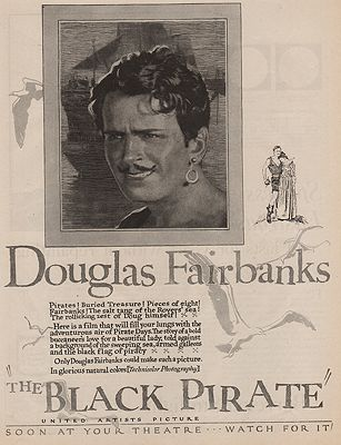 ORIG VINTAGE MAGAZINE AD/ 1926 THE BLACK PIRATE MOVIE ADillustrator- N/A - Product Image