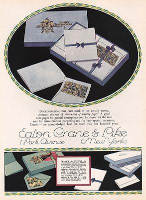 ORIG VINTAGE MAGAZINE AD/ 1927 EATON CRANE & PIKE STATIONERY ADillustrator- Rene  Clarke - Product Image