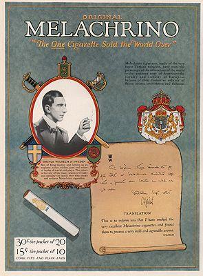 ORIG VINTAGE MAGAZINE AD/ 1927 MELACHRINO CIGARETTE ADillustrator- N/A - Product Image