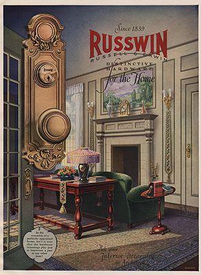 ORIG. VINTAGE MAGAZINE AD: 1927 RUSSWIN HARDWARE ADillustrator- N/A - Product Image
