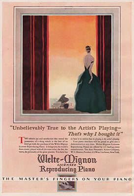 ORIG. VINTAGE MAGAZINE AD: 1927 WELTE-MIGNON REPRODUCING PIANO ADillustrator- N/A - Product Image