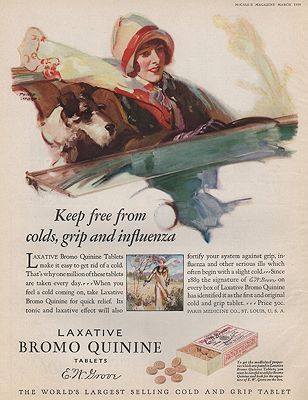 ORIG VINTAGE MAGAZINE AD/ 1928 BROMO QUININE ADillustrator- Philip  Lyford - Product Image