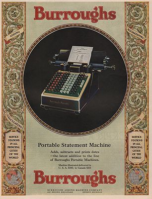 ORIG VINTAGE MAGAZINE AD/ 1928 BURROUGHS ADDING MACHINE illustrator- N/A - Product Image