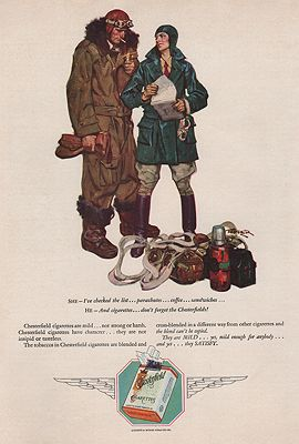 ORIG VINTAGE MAGAZINE AD/ 1928 CHESTERFIELD CIGARETTES ADillustrator- Saul   Tepper - Product Image