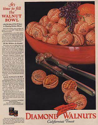 ORIG VINTAGE MAGAZINE AD/ 1928 DIAMOND WALNUT ADillustrator- N/A - Product Image
