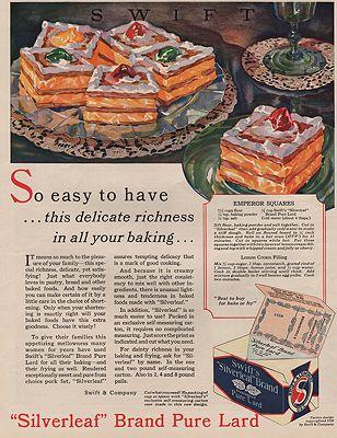 ORIG VINTAGE MAGAZINE AD/ 1928 SWIFT'S SILVERLEAF LARD ADillustrator- N/A - Product Image