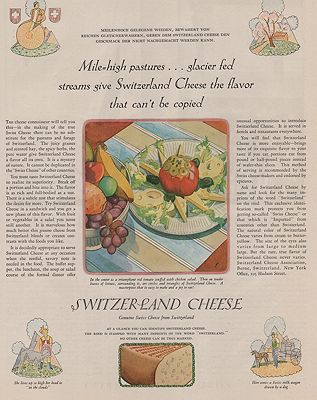ORIG VINTAGE MAGAZINE AD/ 1928 SWITZERLAND CHEESE ADillustrator- Paul  Froelich - Product Image
