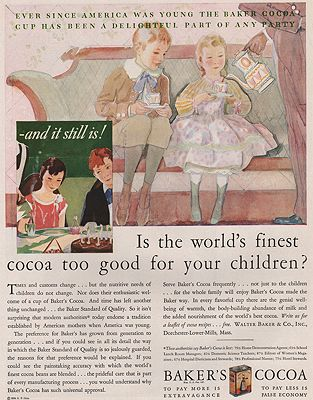 ORIG VINTAGE MAGAZINE AD/ 1929 BAKER'S COCOA ADillustrator- N/A - Product Image