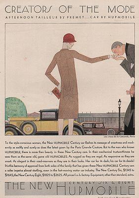 ORIG VINTAGE MAGAZINE AD/ 1929 HUPMOBILE CAR ADillustrator- Bernard Boutet  de Monvel - Product Image