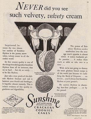 ORIG VINTAGE MAGAZINE AD/ 1929 SUNSHINE HYDROX COOKIES ADillustrator- N/A - Product Image