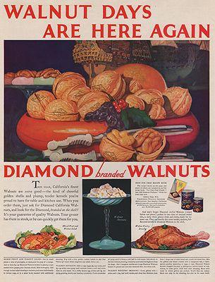 ORIG VINTAGE MAGAZINE AD/ 1930 DIAMOND WALNUTS ADillustrator- N/A - Product Image