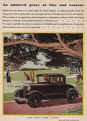 ORIG VINTAGE MAGAZINE AD/ 1930 FORD COUPE CAR ADillustrator- James  Williamson - Product Image