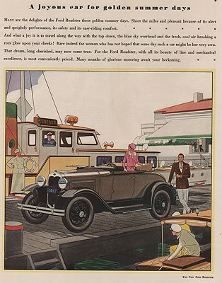 ORIG VINTAGE MAGAZINE AD/ 1930 FORD ROADSTER CAR ADillustrator- James  Williamson - Product Image