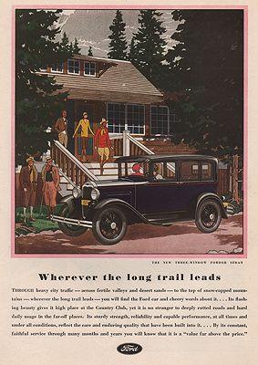 ORIG VINTAGE MAGAZINE AD/ 1930 FORD SEDAN CAR ADillustrator- James  Williamson - Product Image