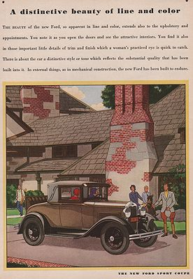 ORIG VINTAGE MAGAZINE AD/ 1930 FORD SPORT COUPE CAR ADillustrator- James  Williamson - Product Image