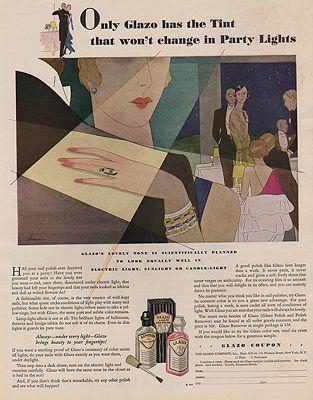 ORIG VINTAGE MAGAZINE AD/ 1930 GLAZO NAIL POLISH ADillustrator- N/A - Product Image