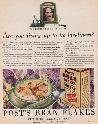 ORIG VINTAGE MAGAZINE AD/ 1930 POST BRAN FLAKES CEREAL ADillustrator- N/A - Product Image