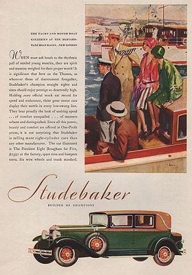 ORIG VINTAGE MAGAZINE AD/ 1930 STUDEBAKER ADillustrator- Harry  Timmins - Product Image