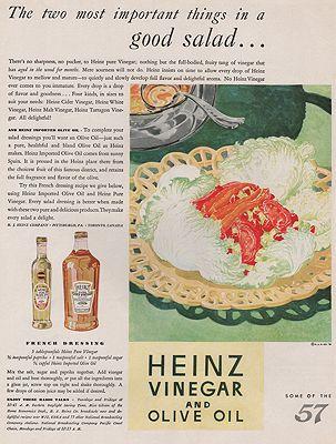 ORIG VINTAGE MAGAZINE AD/ 1931 HEINZ VINEGAR & OIL ADillustrator- N/A - Product Image