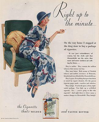 ORIG VINTAGE MAGAZINE AD/ 1932 CHESTERFIELD CIGARETTES ADillustrator- N/A - Product Image