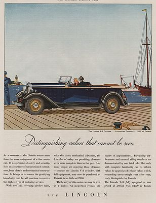 ORIG VINTAGE MAGAZINE AD/ 1932 LINCOLN V-8 PHAETON CAR ADillustrator- James  Williamson - Product Image