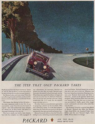 ORIG VINTAGE MAGAZINE AD/ 1932 PACKARD CAR ADillustrator- Peter  Helck - Product Image