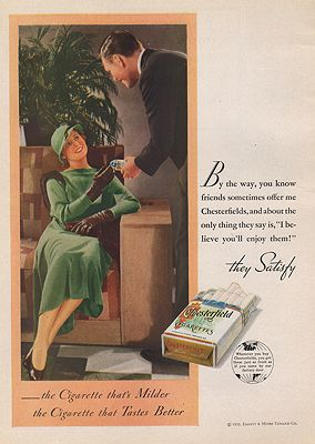 ORIG VINTAGE MAGAZINE AD/ 1933 CHESTERFIELD CIGARETTES ADillustrator- N/A - Product Image