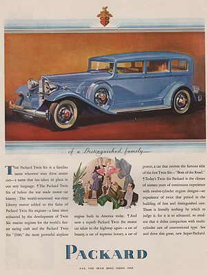ORIG VINTAGE MAGAZINE AD/ 1934 PACKARD TWIN SIX CAR ADillustrator- N/A - Product Image