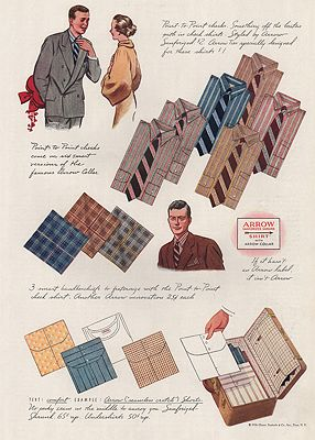 ORIG VINTAGE MAGAZINE AD/ 1936 ARROW SHIRT ADillustrator- James  Williamson - Product Image