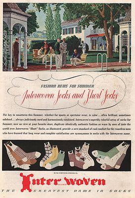 ORIG VINTAGE MAGAZINE AD/ 1936 INTERWOVEN SOCKS ADillustrator- Leslie  Saalburg - Product Image