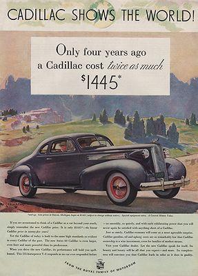 ORIG VINTAGE MAGAZINE AD/ 1937 CADILLAC CAR ADillustrator- Malcolm Daniel  Charleson - Product Image