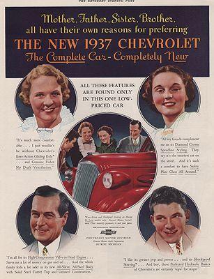 ORIG VINTAGE MAGAZINE AD/ 1937 CHEVROLET CAR ADillustrator- N/A - Product Image