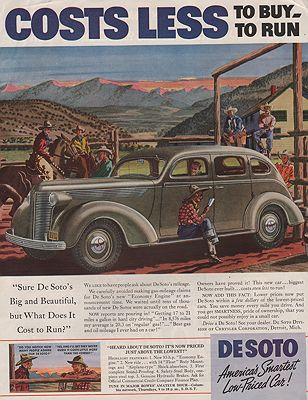 ORIG VINTAGE MAGAZINE AD/ 1937 DESOTO CAR AD illustrator- Leslie  Saalburg - Product Image
