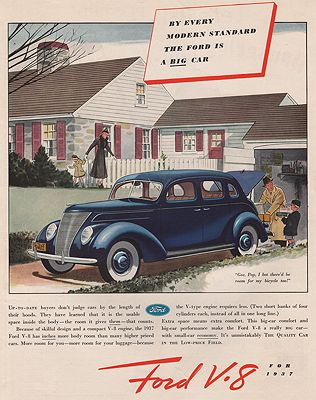 ORIG VINTAGE MAGAZINE AD/ 1937 FORD V-8 CAR ADillustrator- James  Williamson - Product Image