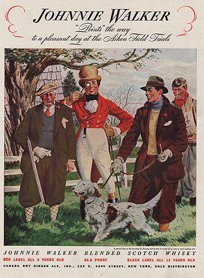ORIG VINTAGE MAGAZINE AD/ 1937 JOHNNIE WALKER WHISKEY ADillustrator- Floyd  Davis - Product Image