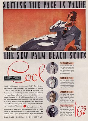 ORIG VINTAGE MAGAZINE AD/ 1937 PALM BEACH SUITS ADillustrator- N/A - Product Image