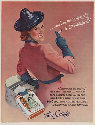 ORIG VINTAGE MAGAZINE AD/ 1938 CHESTERFIELD CIGARETTE ADillustrator- N/A - Product Image