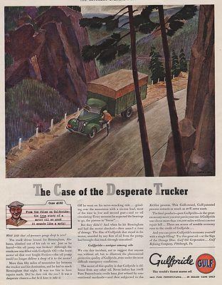 ORIG VINTAGE MAGAZINE AD/ 1938 GULFPRIDE MOTOR OIL ADillustrator- Peter  Helck - Product Image