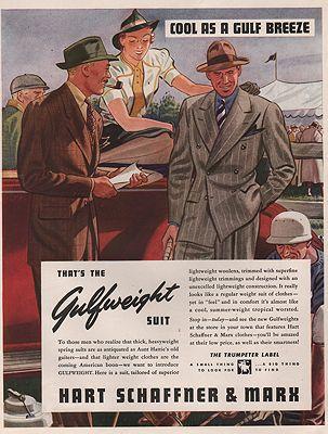 ORIG VINTAGE MAGAZINE AD/ 1938 HART SCHAFFNER MARX ADillustrator- Leslie  Saalburg - Product Image