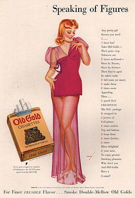 ORIG. VINTAGE MAGAZINE AD: 1938 OLD GOLD CIGARETTES ADillustrator- George  Petty - Product Image