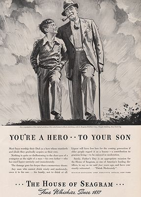 ORIG VINTAGE MAGAZINE AD/ 1938 SEAGRAM DISTILLERS  ADillustrator- George  Brehm - Product Image